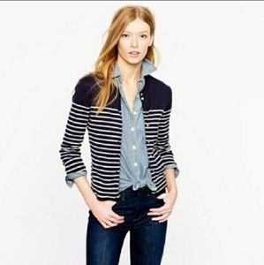 J. Crew navy and white striped cardigan Large